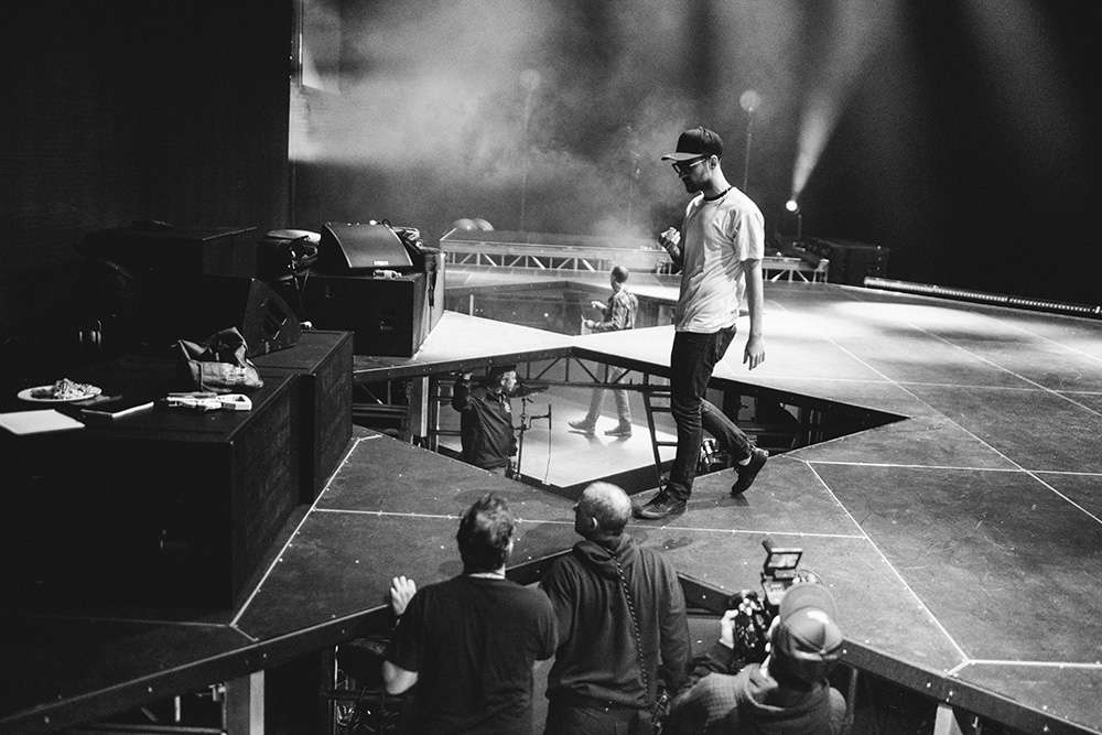 Ryan Lewis Setting Up on Stage