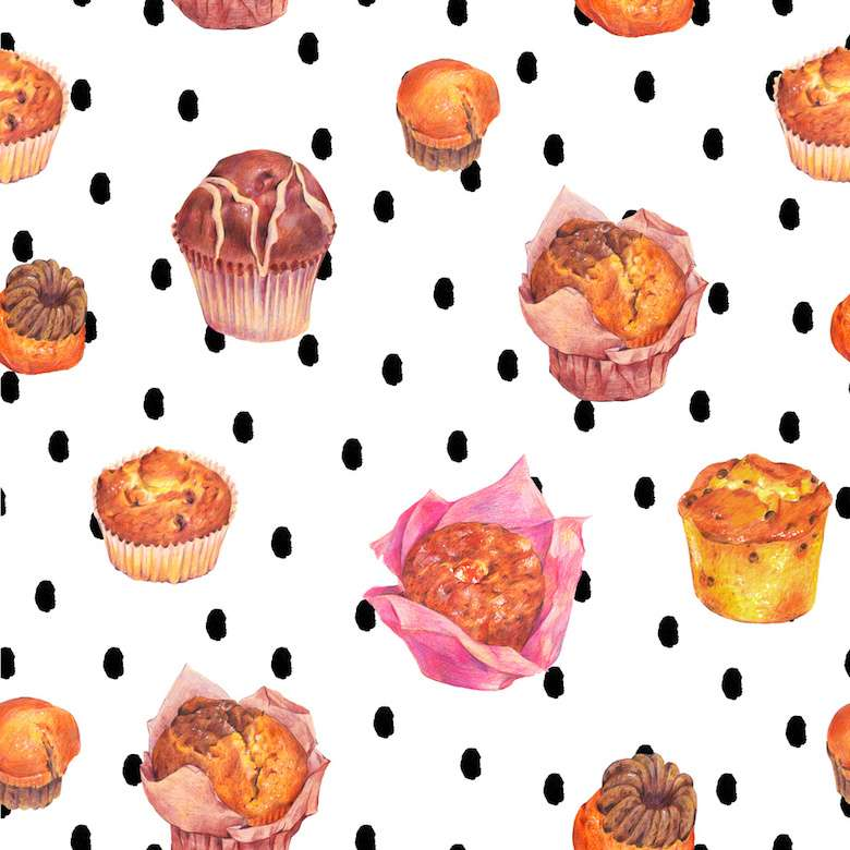 Hand drawn baking seamless pattern, muffins with chocolate, jam and raisins, Retro pencil food illustration on polka dot background