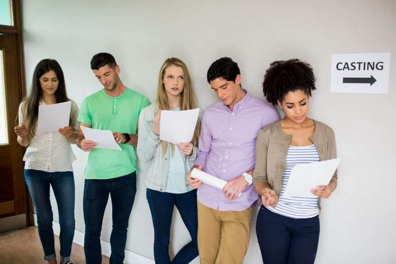 Students at a casting call
