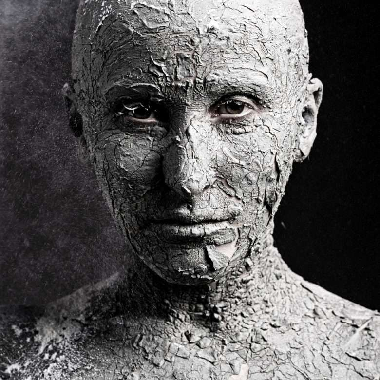 High-Contrast Portrait of Cracked Skin