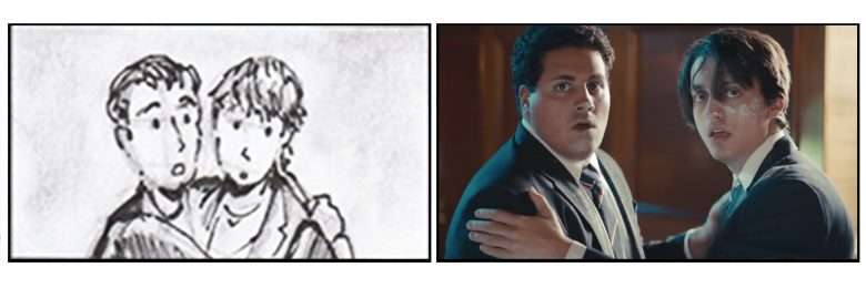 A frame from Tighe Kellner's music video for the Rosebuds compared with the original storyboards by Jim Penola