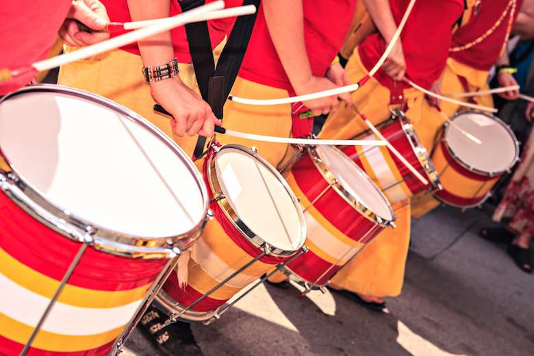 A drums band on the street. Scenes of Samba parade.