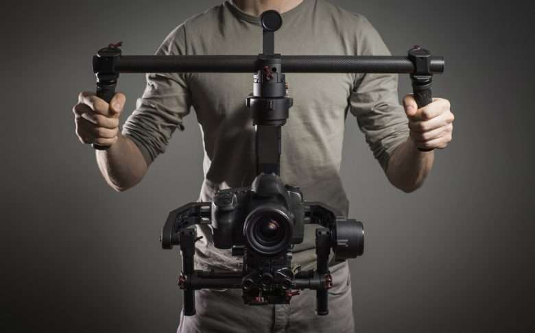 Professional videographer with gimbal