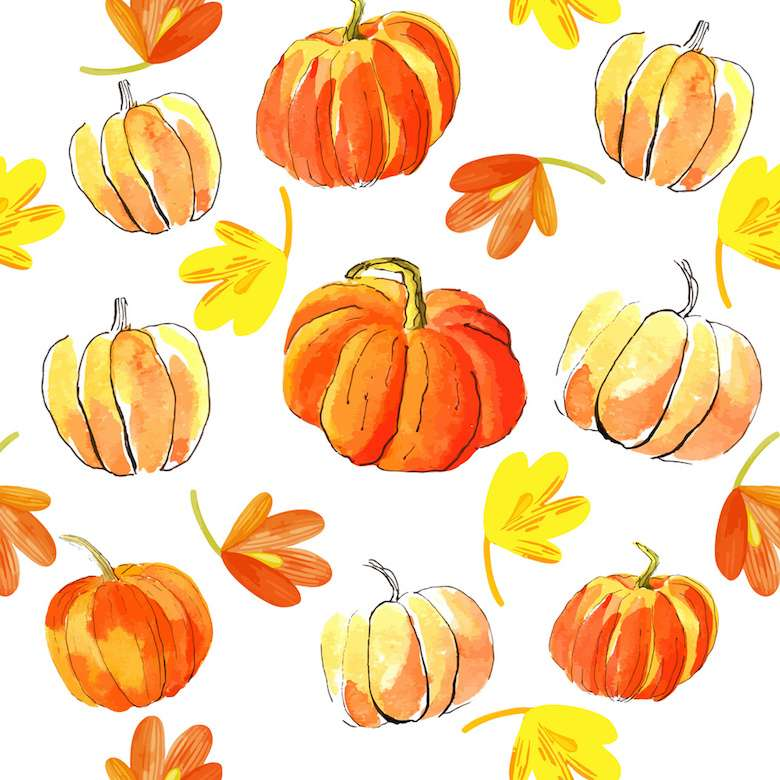 Watercolor Halloween Of Pumpkins