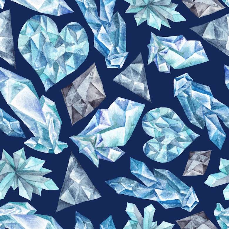 Blue Gems Watercolor Pattern