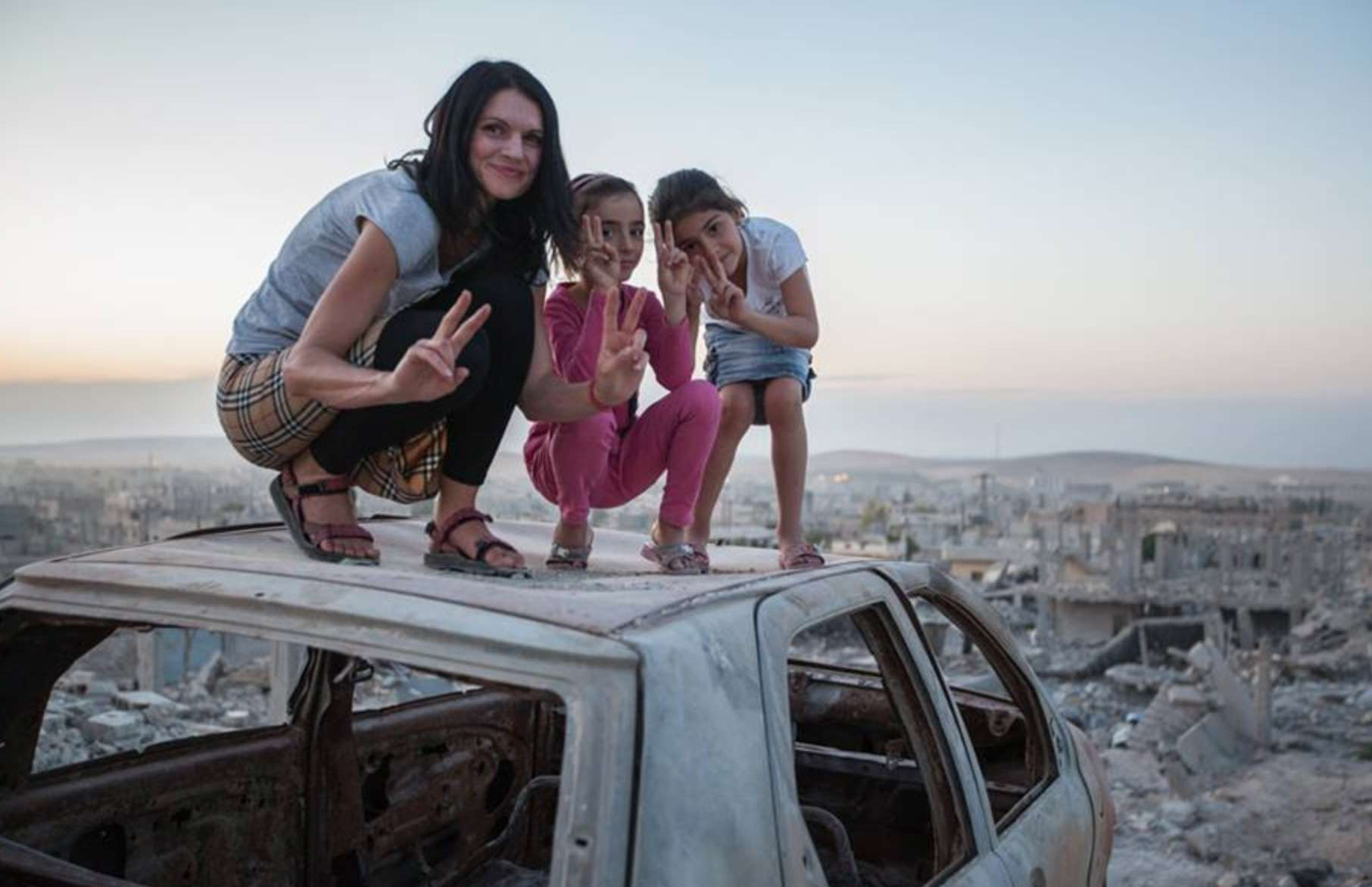 Marketa with kids in Syria