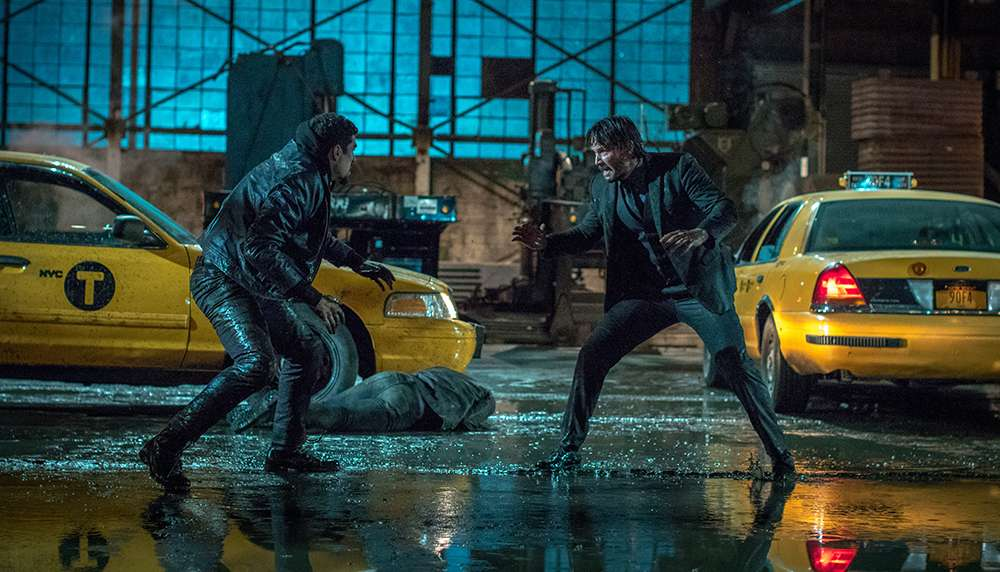 "John Wick  (Keanu Reeves) versus a henchmen in ""John Wick: Chapter 2"""