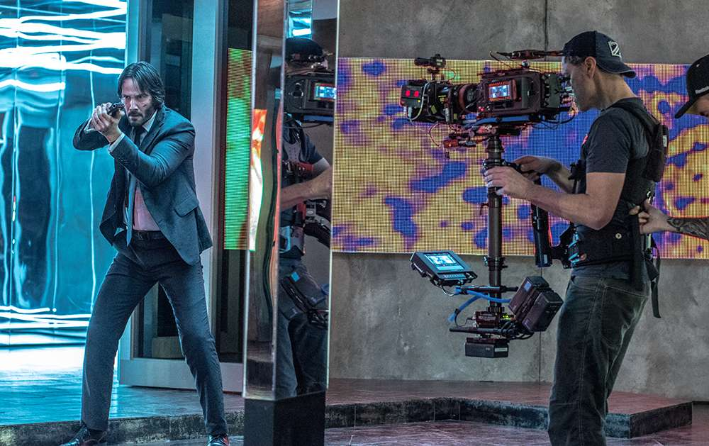 "Keanu Reeves and Camera Operator on the Set of ""John Wick: Chapter 2"""