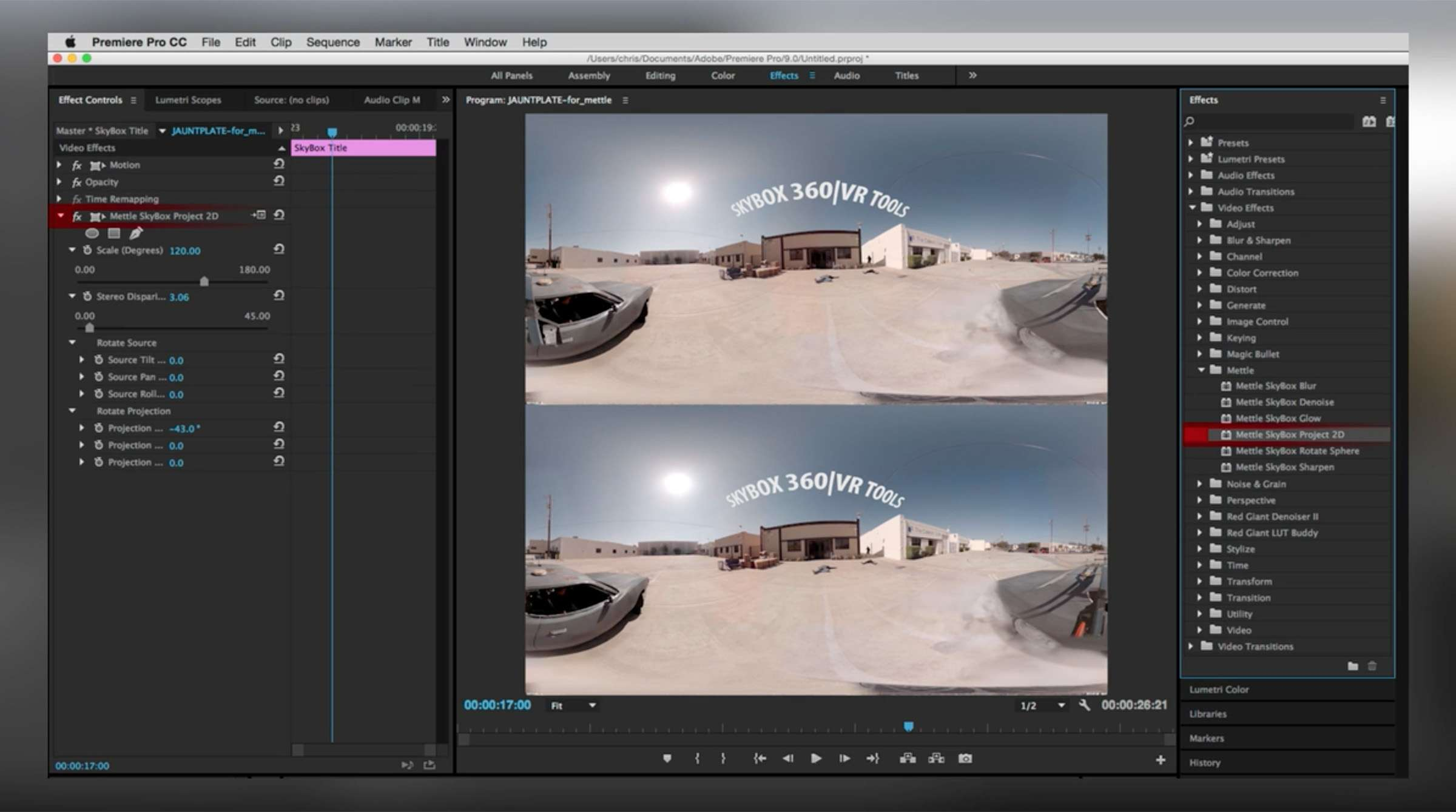 How to Work With Mettle Skybox 360/VR Tools in Premiere Pro
