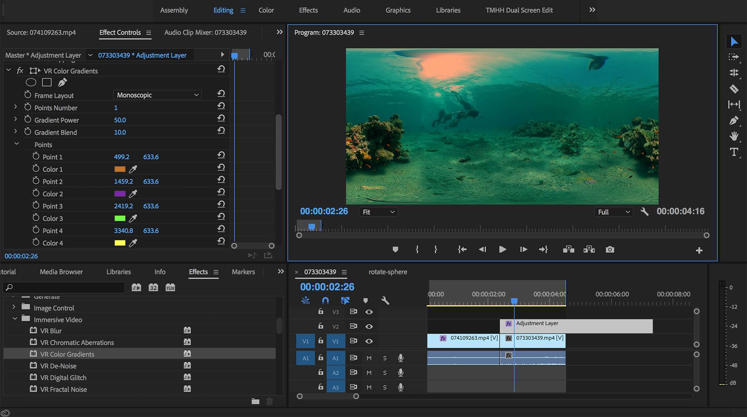 New Immersive Video Effects for 360/VR Video in Premiere Pro