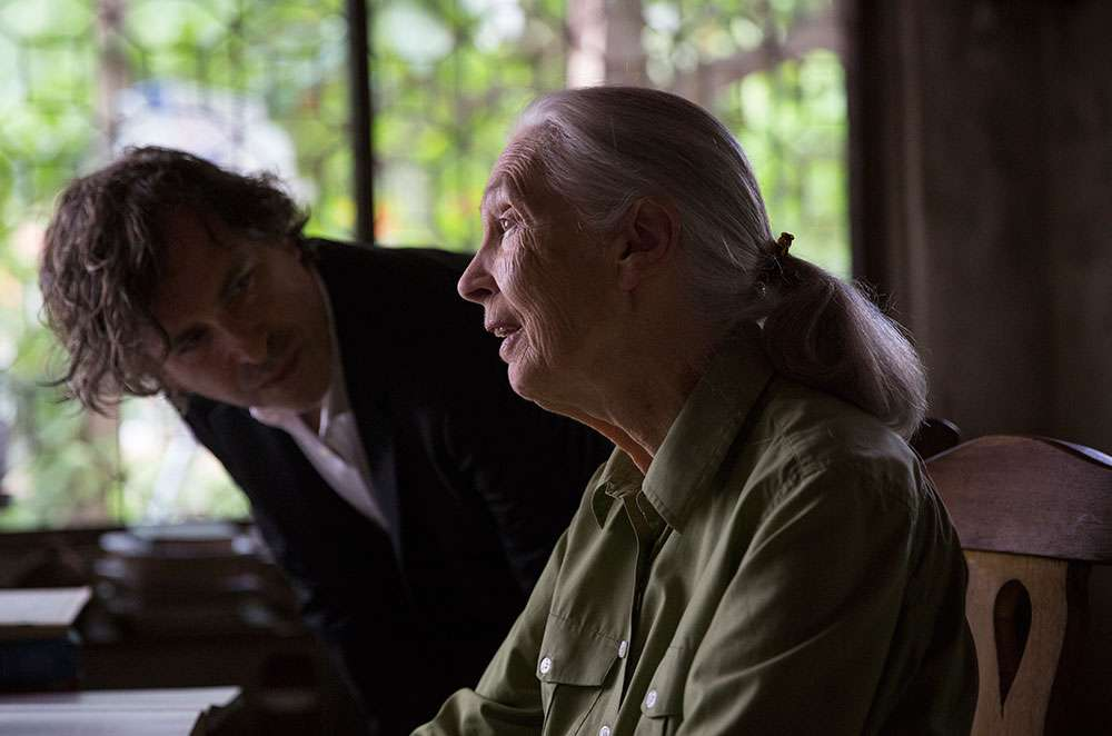 Brett Morgan and Jane Goodall in 2016