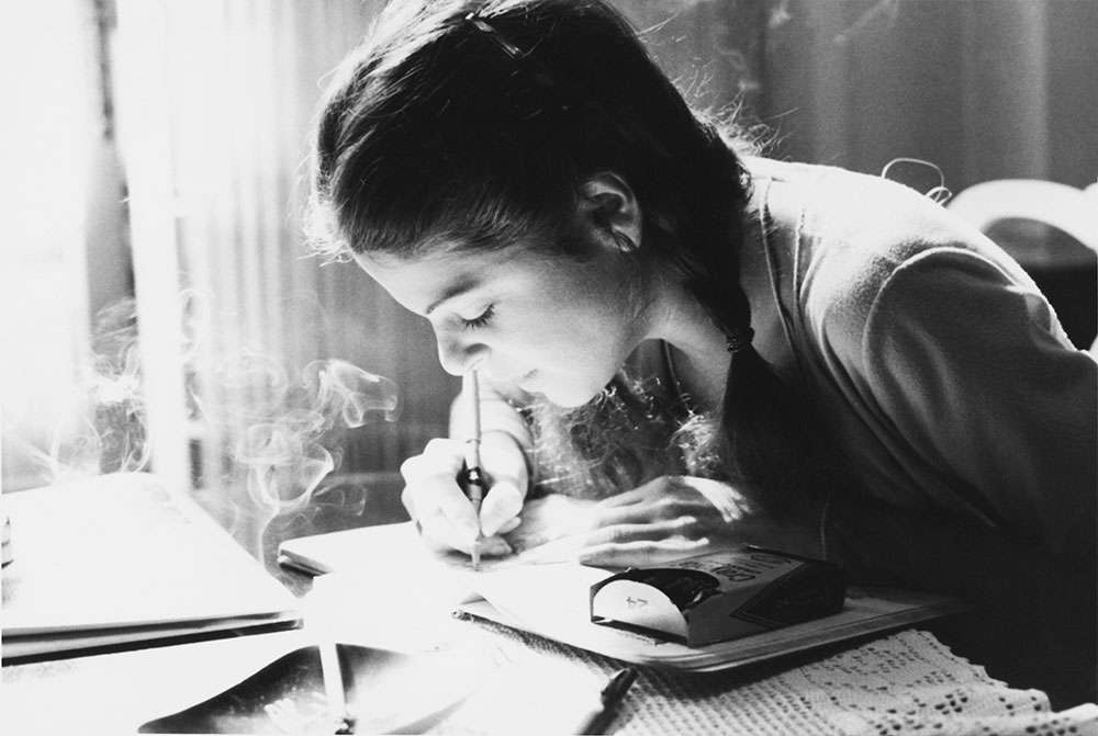 Gilda Radner writing in a personal diary