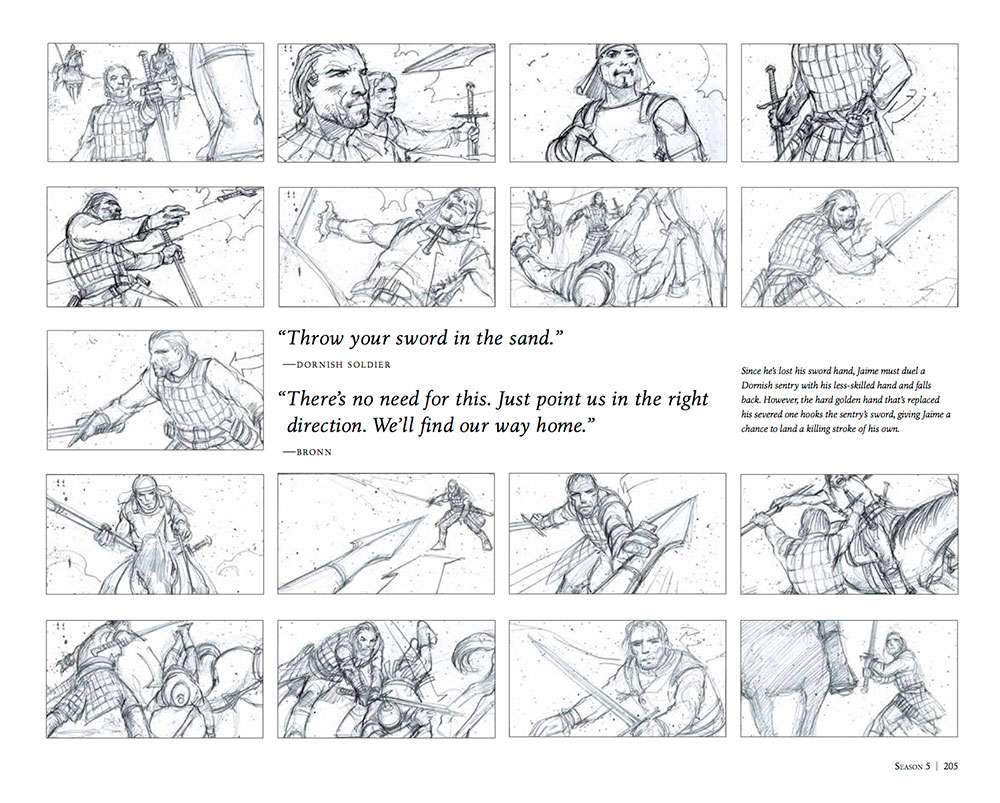 A page from William Simpson's 'Game of Thrones: The Storyboards' Book